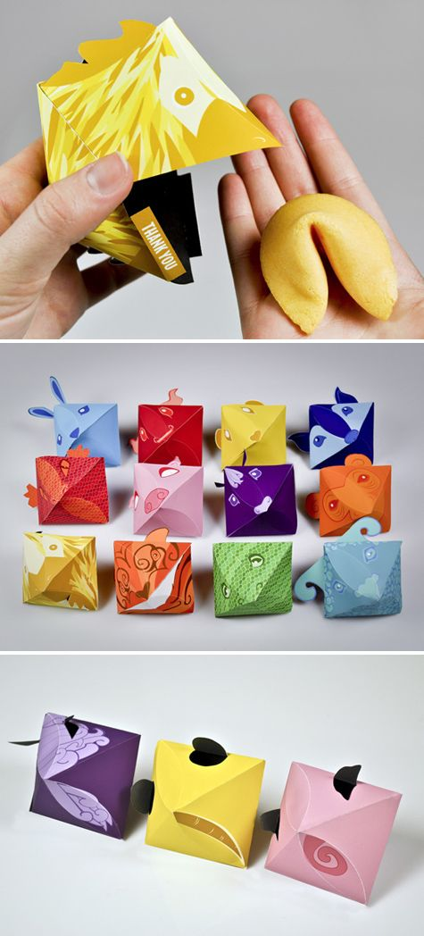 Beijing Buffet Fortunes is a collectable set of twelve fortune cookie dispensers, each representing an animal of the Chinese Zodiac. Clever packaging, from form to the animals' backsides. Designed by Caroline Brickell.