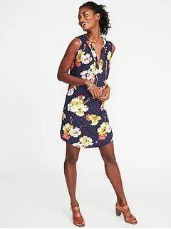 75f00f18a61a0 Jersey-Knit Sleeveless Swing Dress for Women