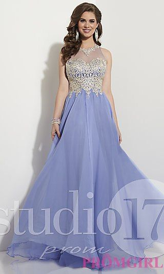 795375489a Long Prom Dress with Embroidered Bodice