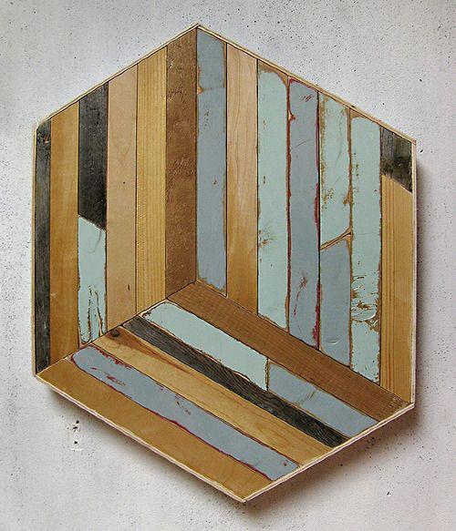 Aaron Moran    Plot i (prefab), 2013    Reclaimed wood    17 x 22 x 2