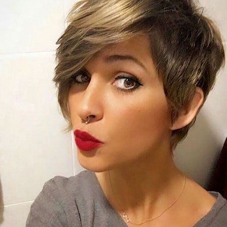 Would love to have this hair cut but longer on the short side and without bangs