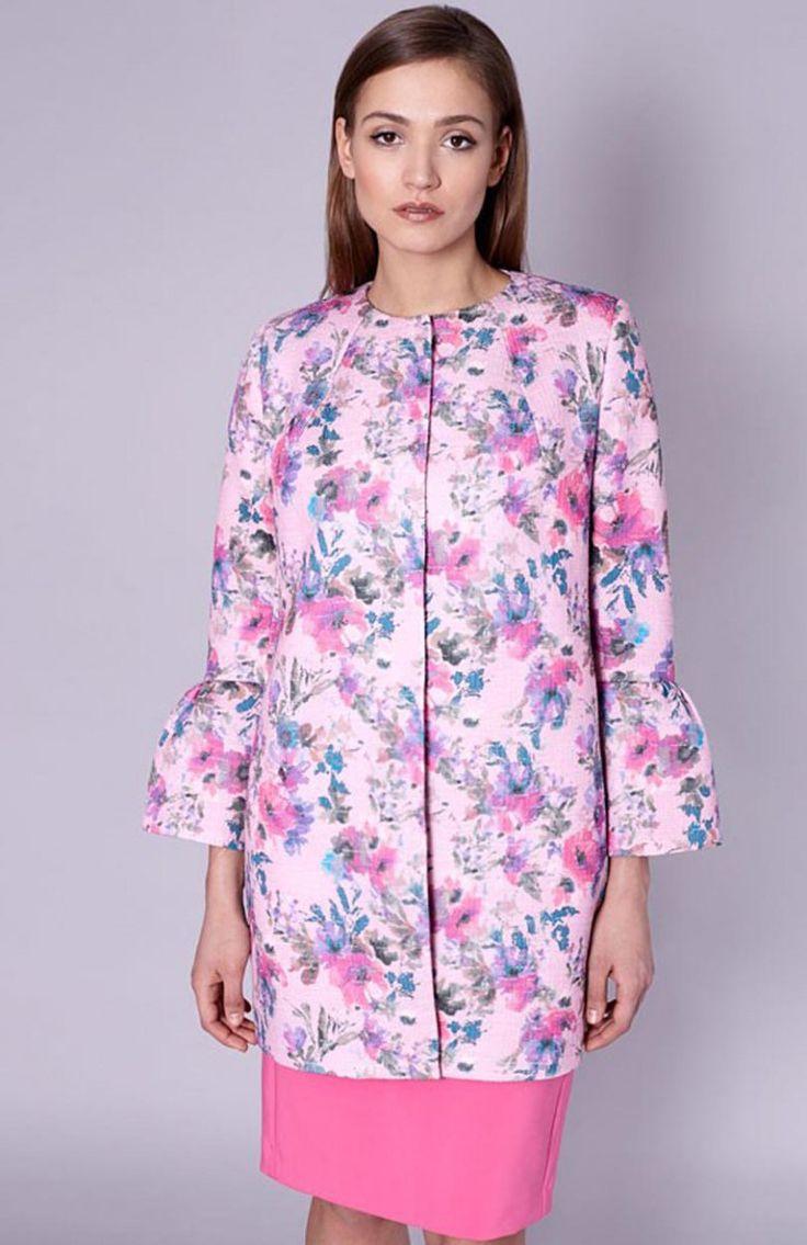 Click Fashion Amelia płaszcz Elegancki płaszcz, rękaw wykończony falbaną, z podszewką w soczyście różowym kolorze