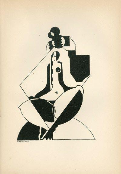 Enrico Prampolini, Il Giustiziere [Anarchie]. Tavola tratta da: Ruggero Vasari, La mascherata degli impotenti, 1923