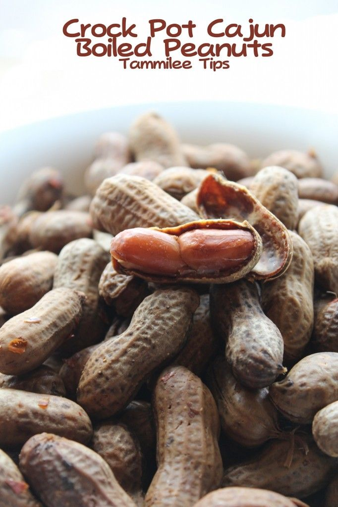 Crock Pot Cajun Boiled Peanuts: 1 pound raw peanuts, in the shell 1 (3 ounce) package dry crab boil (such as Zatarain's® Crab and Shrimp Boil) 1 tablespoon garlic powder 1/2 cup salt 2 tablespoons Cajun seasoning 2 tablespoons red pepper flakes 8 cups water to start