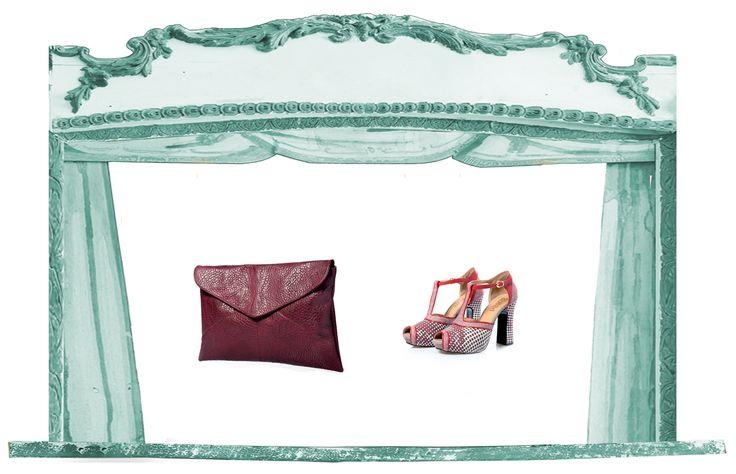 Sfere alchemiche collection spring summer 2015: scarpa e borsa Venere