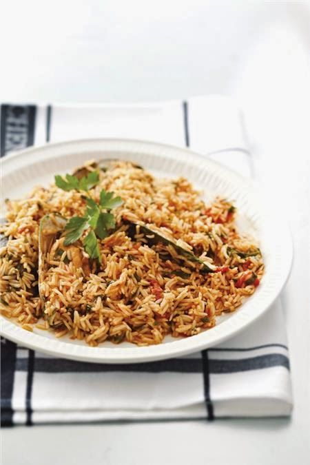 Rice Pilaf with Mussels Cooked in Wine, Mustard and Tomato Sauce