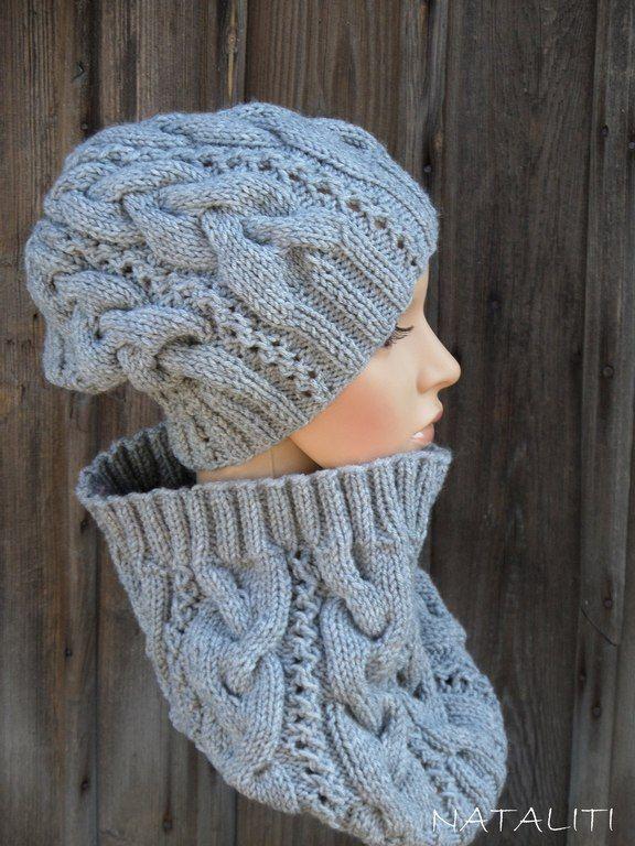 Купить Комплект InGreed Gray - серый, шапка и шарф, шапка и снуд, вязаная шапка, шапка