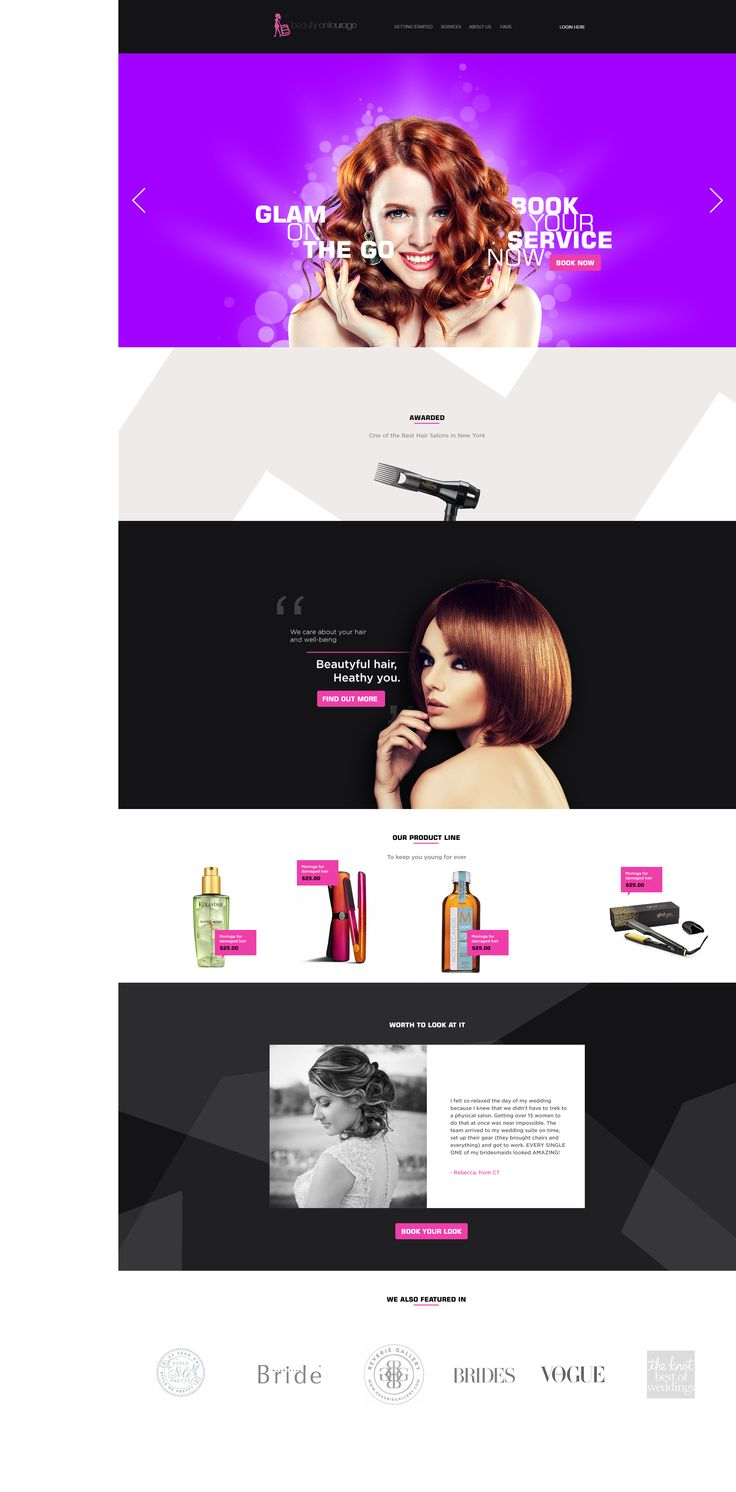 A minimal layout for beauty services landing page..