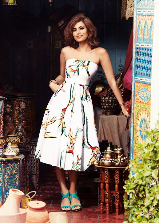 eva-mendes-white-floral-birds-of-paradise-dress-NY&Co collection