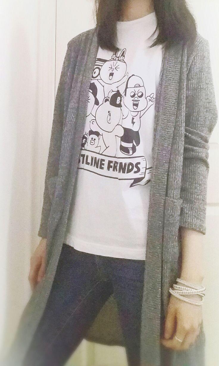 Casual Spring Wear - Grey Cardigan + LINE Tshirt