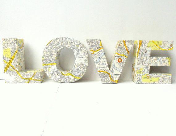 LOVE 3D Freestanding Lettering Maps Custom Home Decoration Wedding Present Ornament Traveller. $48,00, via Etsy.