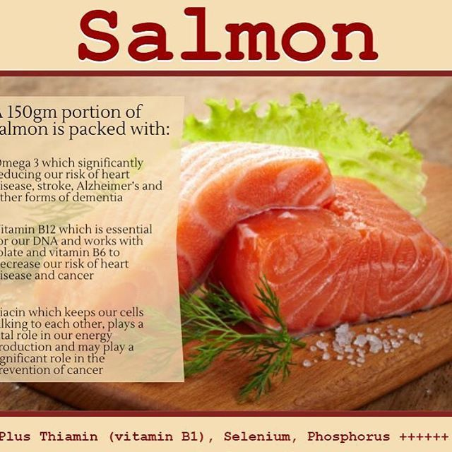 Salmon can be a great addition to your diet for a number of reasons  First of all, salmon is a great source of the omega-3s DHA & EPA, which are both essential for our diet. These nutrients are required for normal heart function, brain function and eye health. Consuming omega-3s will reduce your risk of a number of chronic diseases such as heart disease and brain disorders. - Salmon is also a source of Vitamin B3 & B12. B vitamins are required for yielding energy from the food consume. B…