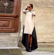 Elegante estilo de europa Ladies cuello alto Irregular Hem empalme Patchwork otoño mujeres del vestido Maxi vestido largo Vestidos(China (Mainland))