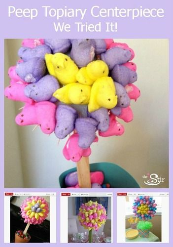 How to Turn Easter Peeps Into a Crafty CenterpieceEaster Peep, Easter Dinner, Easter Centerpieces, Crafty Centerpieces, Peep Centerpieces, Gardens, Stunning Peep, Topiaries Centerpieces, Centerpieces Videos
