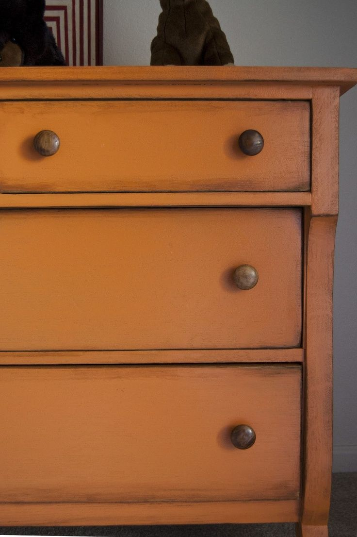 images of painted orange furniture | Orange painted dresser