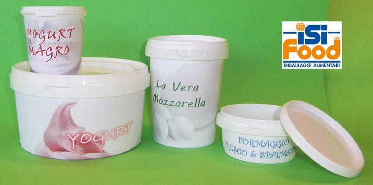 Contenitori di diversi formati, dai 150 ml ai 3 o 5 litri di contenuto, studiati apposta per contenere Yogurt, Latticini, Formaggi e derivati... Disponibili vari modelli, formati, capacità e colori, per adattarsi al meglio alle esigenze. Idonei al contatto con gli alimenti.