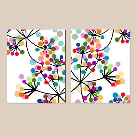 Modern Abstract Botanical Floral Duo – Set of Two 8×10 Prints – Colorful Wall Art for Home Decor
