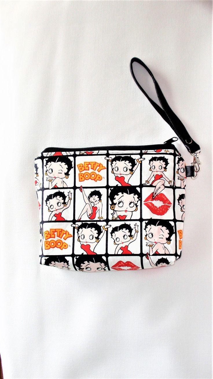 """Betty Boop Makeup Bag , 10 """" W X 7 """" H X 2 """" bottom.Zipper"""