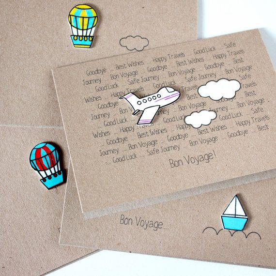 Handmade Bon Voyage Card // Goodbye Card // by LittleSilverleaf