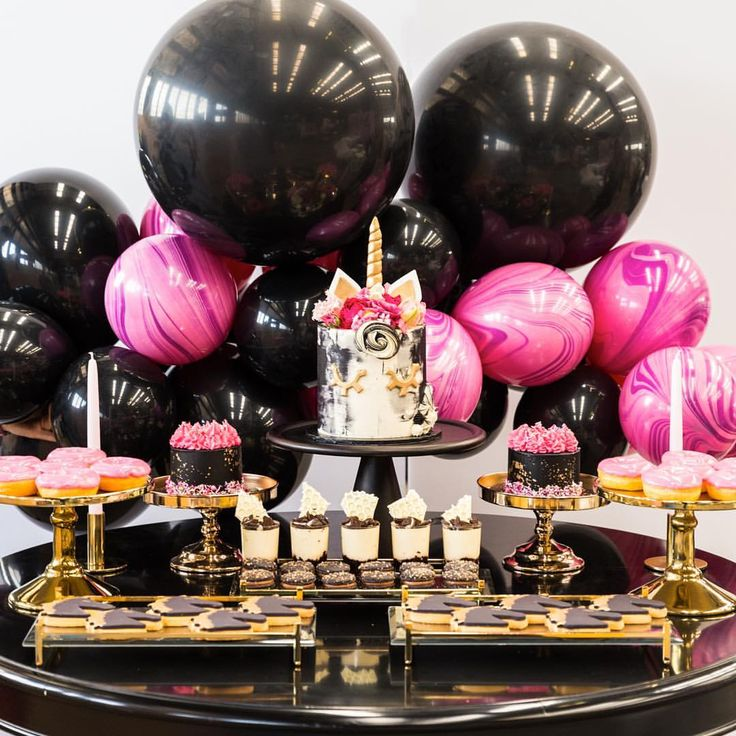 I can't believe I forgot to post these pictures!!!!!! Soo in love with this #pinkandblack #unicornparty an unusual combo but I am absolutely in love with the outcome  #styling @ohferi_eventstyling #cake and #minidesserts @lamannapatisserie #balloons @boutiqueballoonsmelbourne #melbourne #melbevents #stylist #stylish #desserttable #partytheme #unicornparty #cakes #cupcakes #buttercream #fondantcake #balloongarland #goldcakestands