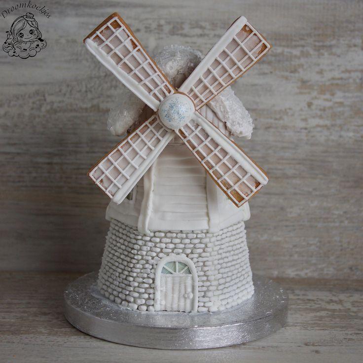 Winter white windmill / 3D cookie project/ 3D koek project windmolen by Droomkoekjes