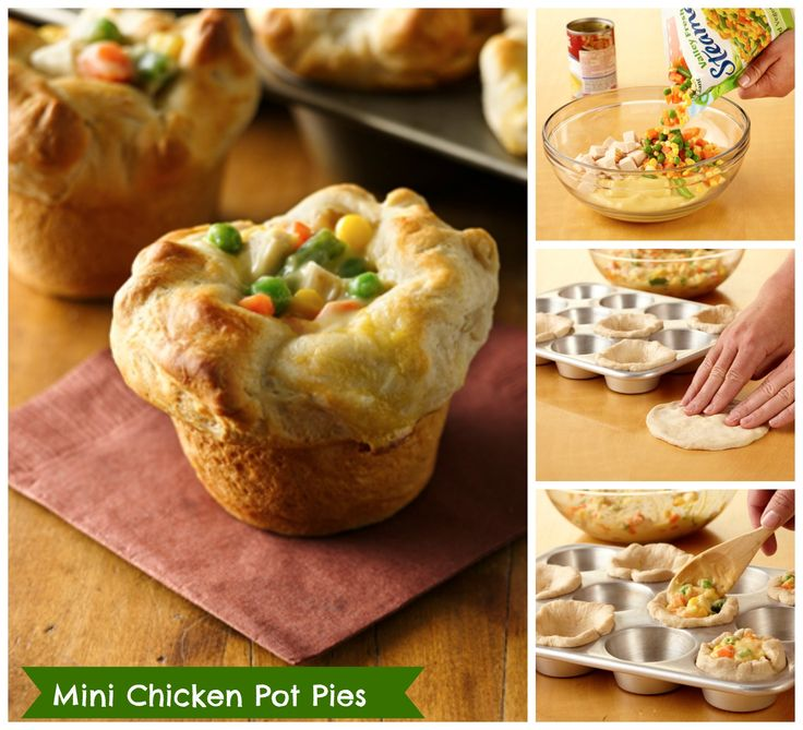 http://www.pinterest.com/lrslls/food/Mini Chicken Pot Pies - recipe uses 4 ingredients and takes 20 minutes to prep!