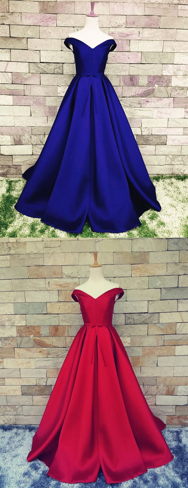 V Neck Off The Shoulder Long Satin Ball Gowns Prom Dresses 2018 Formal Evening Gown