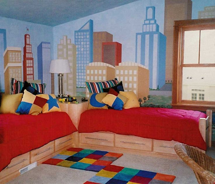 Twin boys bedroom kids rooms pinterest city scapes - Bedroom for boy ...