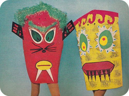 start thinking about Halloween. McCall's Needlework & Crafts Magazine Fall-Winter 1969-70: Paper Bag Costumes.