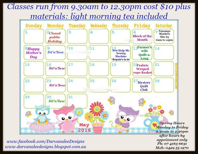 Darvanalee Designs Long Arm Quilting and More: May 2016 Class Schedule