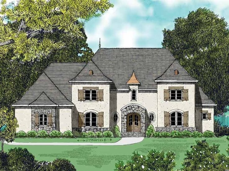 Chateau house plan with 3928 square feet and 4 bedrooms for Chateau house plans