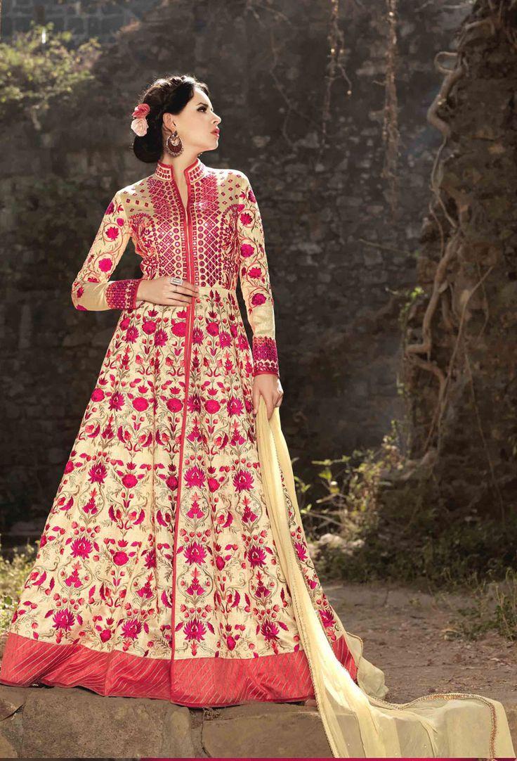 Cream #Silk #Long #Achkan Style #Salwar #Kameez #nikvik  #usa #designer #australia #canada #freeshipping #suits #collar #pakistani