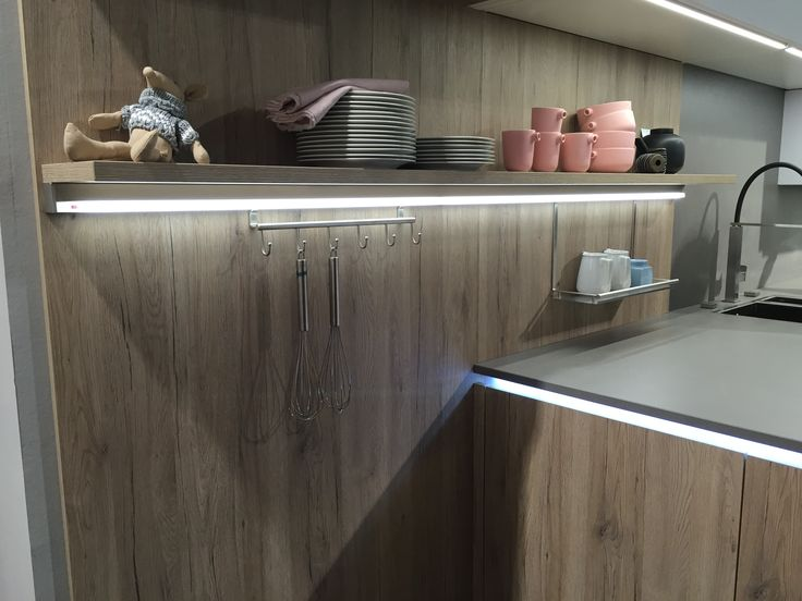 ALNO kitchens illuminated hanging accessory rail system