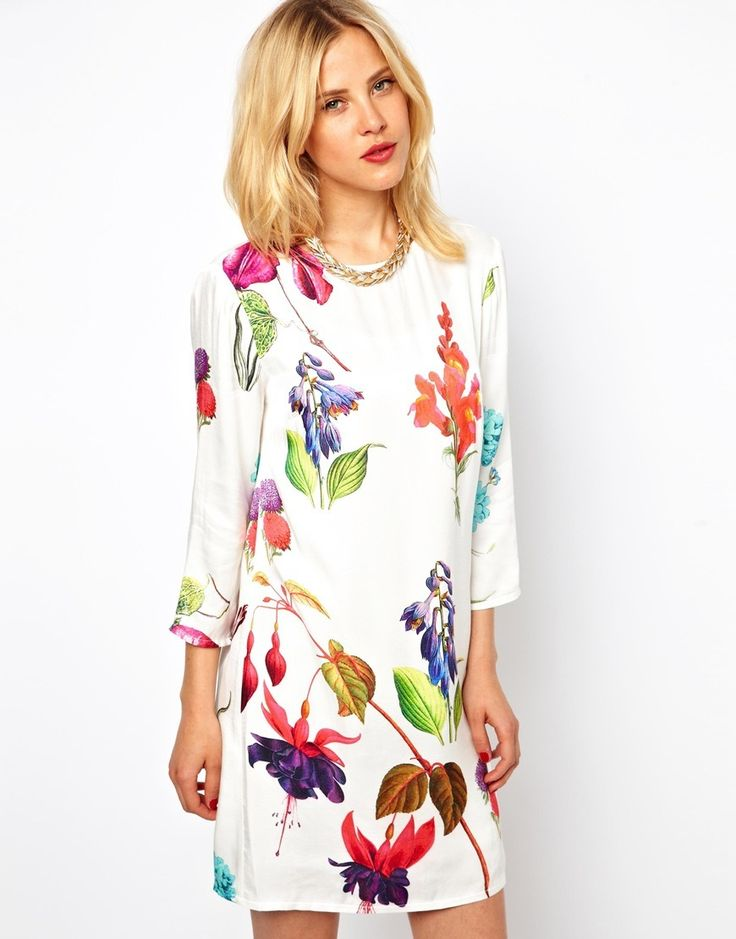 Another fabulous floral print dress from ASOS! This plane-white based dress lets the flowers do the talking! Would be perfectly matched with a crisp white blazer <3 http://rstyle.me/~AIQf