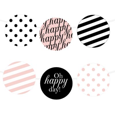 Free Printable Happy Stripes Party Garland from printablepartydecor.com ❥