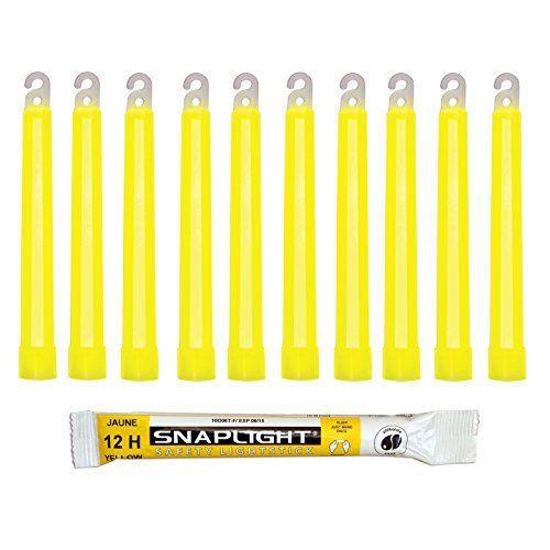 Cyalume Bâton lumineux jaune SnapLight Glow Sticks 15cm, Light Sticks très lumineux avec durée de 12 heures (Boite de 10): FABRIQUÉ EN…