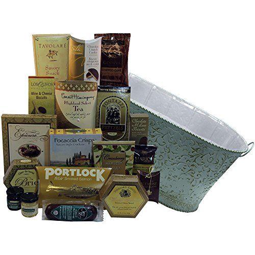 Art of Appreciation Gift Baskets Resounding Joy Gourmet Gift Basket with Smoked Salmon, (White)