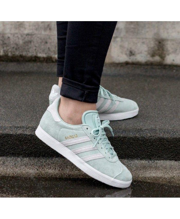 the latest 9ae5f 9a362 Adidas Gazelle Ash Green Ftwr White Blue Tint Womens Trainers