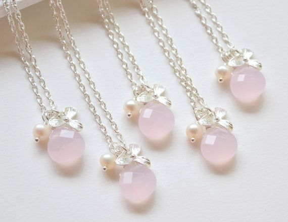 Pink Bridesmaid Necklace blush Pink by ArtemisBridalJewelry, $18.00