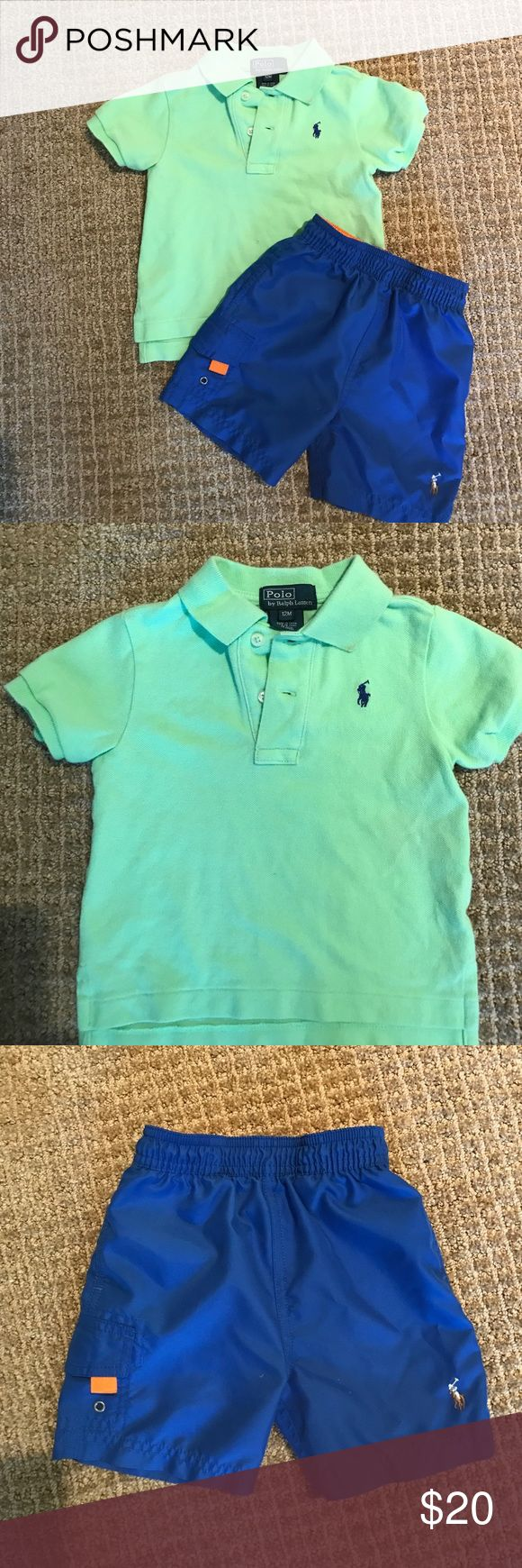 Polo Ralph Lauren Baby Polo Shirt & Polo Swimsuit Polo Ralph Lauren baby boy lime green classic polo shirt with royal blue logo (12 mo)  and Royal Blue Swimsuit (9 mo). Excellent Condition super cute Polo by Ralph Lauren Shirts & Tops