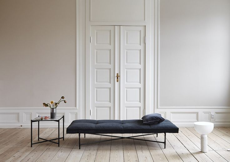 The HANDVÄRK Side Table - white marble - in combination with the Daybed.