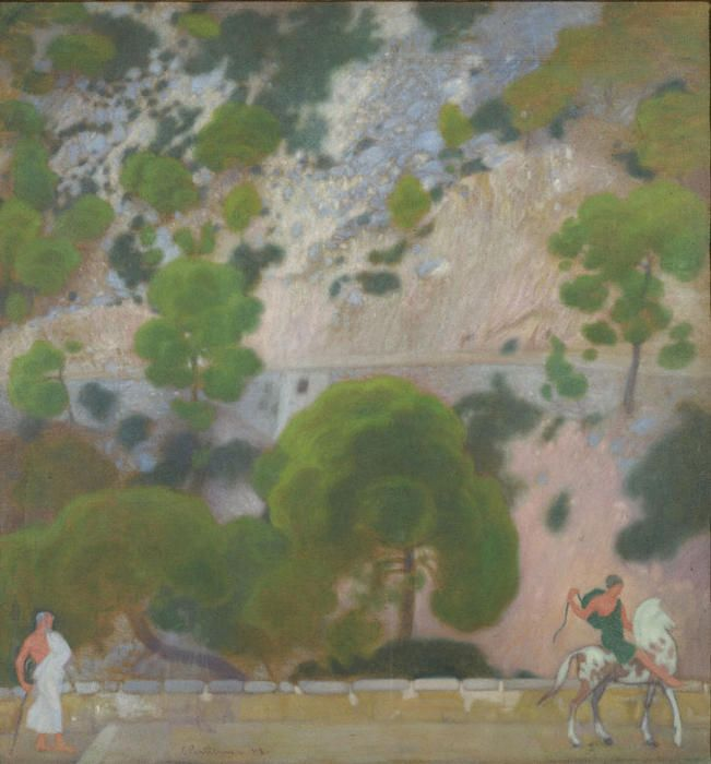 'The Slope', Oil On Canvas by Konstantinos Parthenis (1878-1967, Egypt)