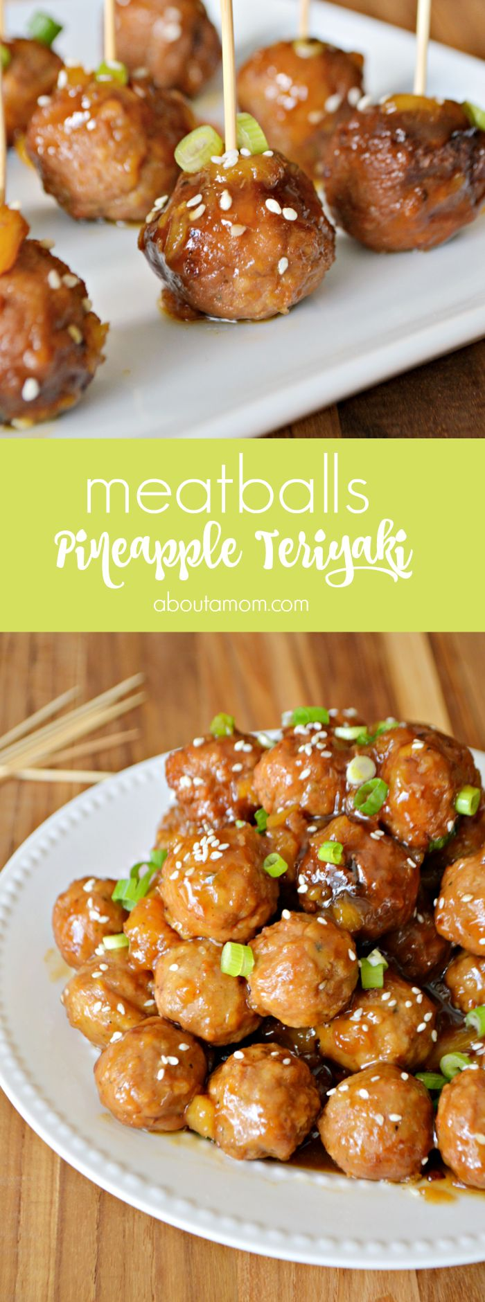 These simple-to-make slow cooker Pineapple Teriyaki Meatballs are incredibly delicious, and the perfect meatball appetizer for game day or anytime. #ad