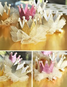 Princess Crown Tiara Party Favors are a great princess party idea for a 1st birthday princess! Crowns are covered in glitter and attached to a little