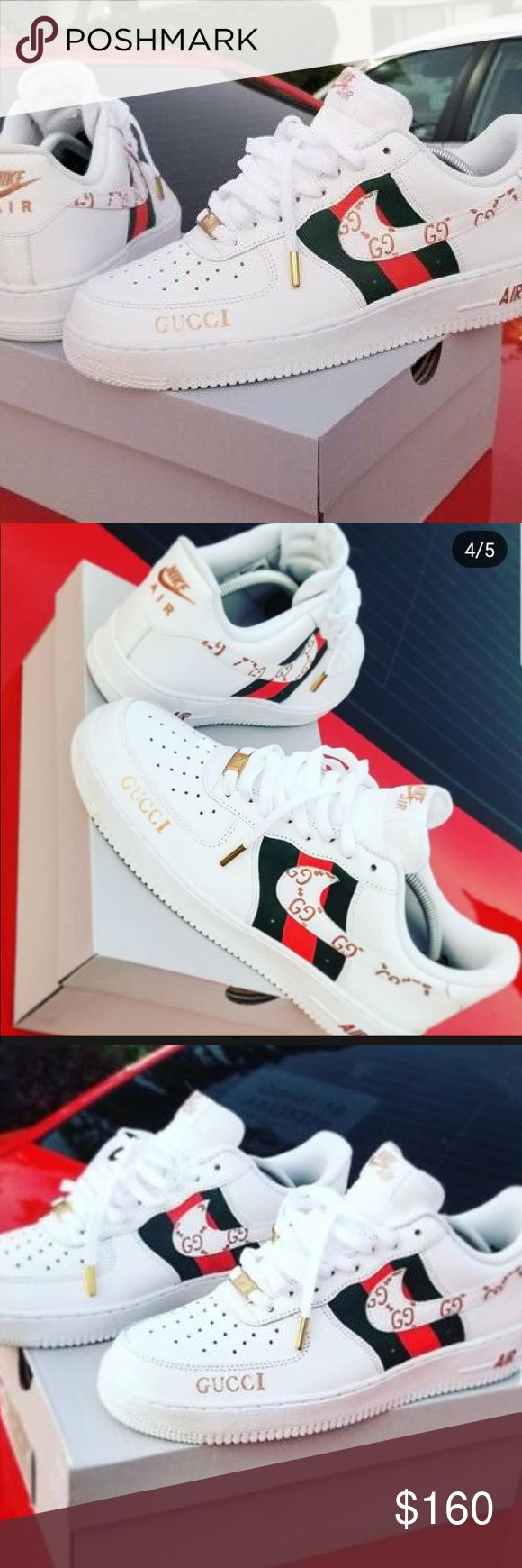 Custom Painted Nike Air Force 1 x Gucci *THE GUCCI LOGOS