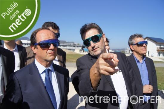 François Hollande, candidat à la primaire socialiste, était de passage en Savoie le 4 octobre 2011 pour visiter l'INES, l'Institut national de l'énergie solaire au Bourget-du-Lac.  Oubald / Metro Reporter