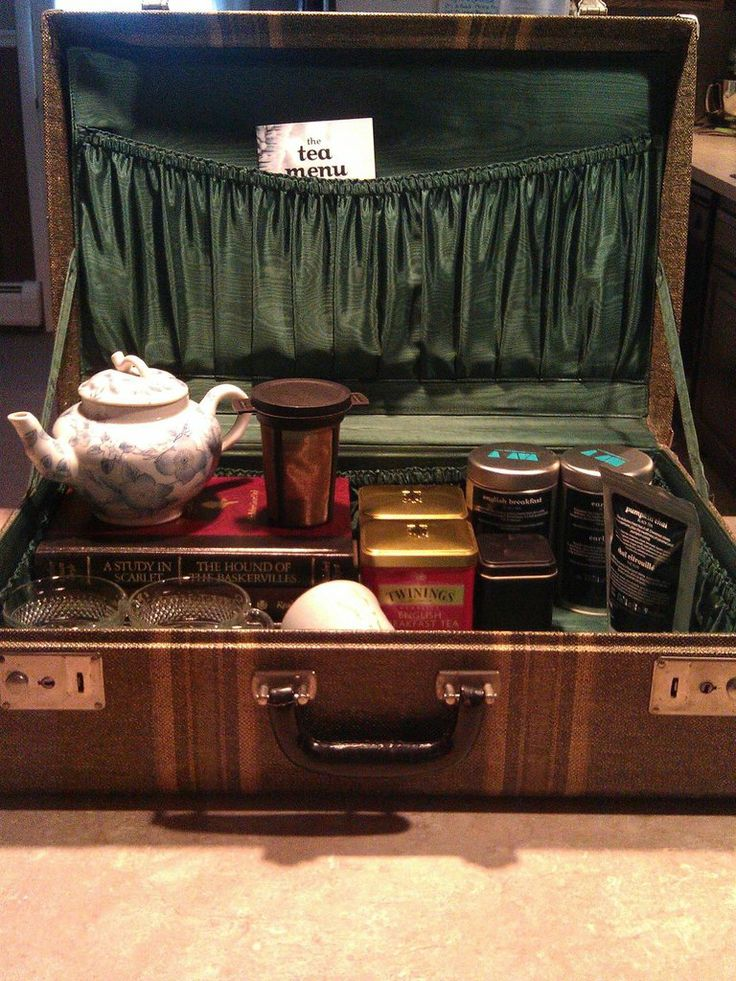 Store teas in a suitcase for a nice display