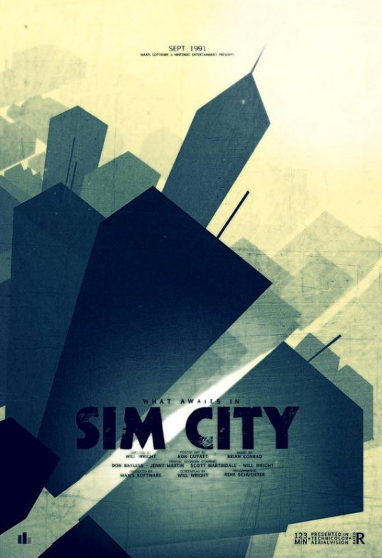 Sim City fan art by Ron Guyatt and Indy Lytle. This poster is available in their shop: Video Games Posters