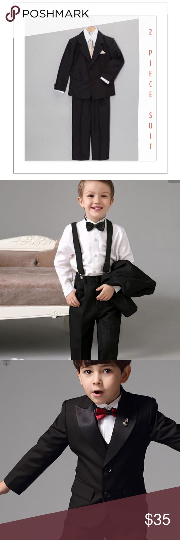 black . single . breasted . Suit Wow! Dress your little man in this 2 pc black single breasted suit. Jacket and pants. Pairs great with denim, white dress shirt, neck tie, bow tie, suspenders. You name it! What a great staple piece for a special occasion and that family on the go. Where the dress pants with a nice sweater for a dinner. Yes! Wow! 3 buttons on the jacket with 2 pockets in front. The pants have an elastic waist band in the back with 2 side pockets. Button to fasten pants. Size…