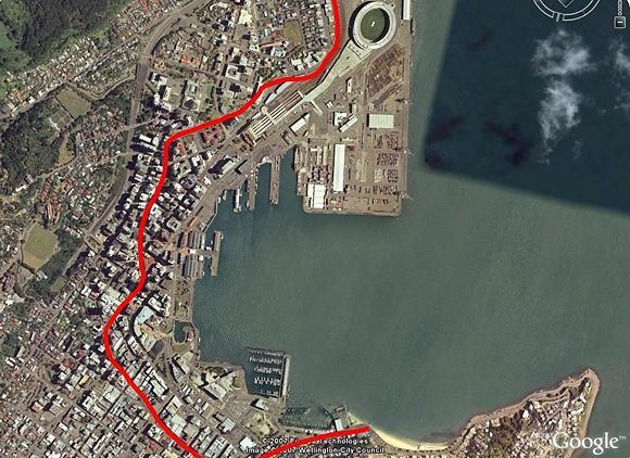 This line indicates where the coastline was when the first settlers arrived in 1840  Embedded in the footpaths from Thorndon to Oriental Parade in are a series of 40 brass plaques marking the original coastline of the city